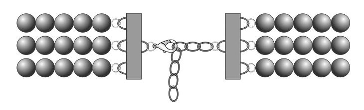 Схема завершения многорядного украшения с использованием переходников