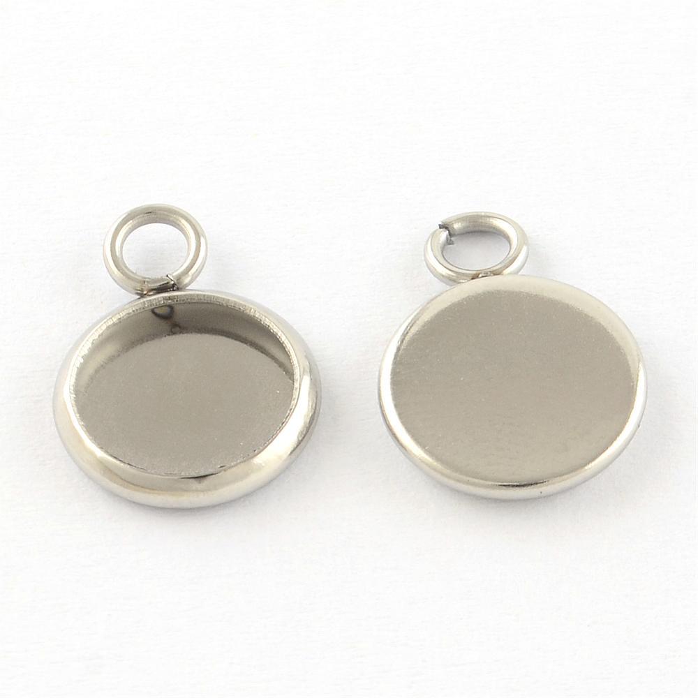 Рамки для кулонов, брошей, браслетов: Рамка для кабошона 14*10мм (внутр. 8мм), круглая, лаконичная, нержавеющая сталь