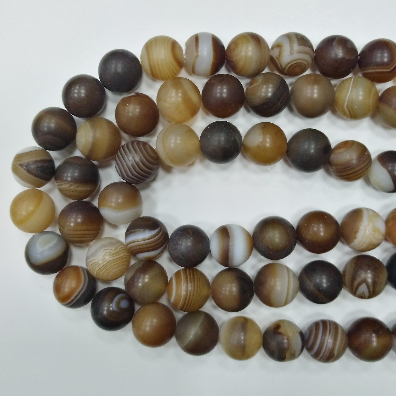 Бусины каменные, агат, полосатый матовый, 10мм, коричневый, 37 шт., низка
